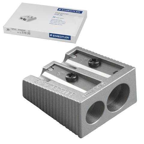 Точилка STAEDTLER (Германия), 2 отверстия, металлическая, клиновидная, 510 20