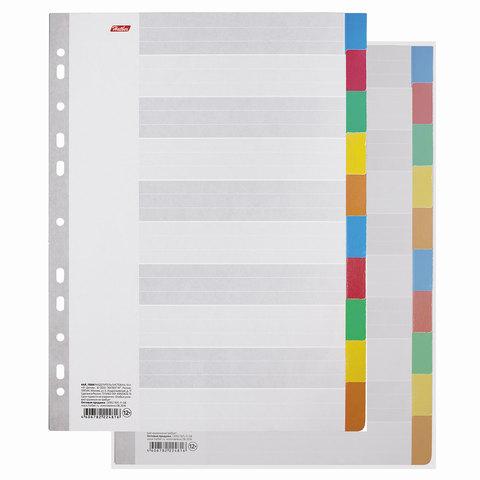 Разделители листов А4 (10 листов 297х225 мм) картонные, 10 цветов, HATBER, 4AR_11004, М224816
