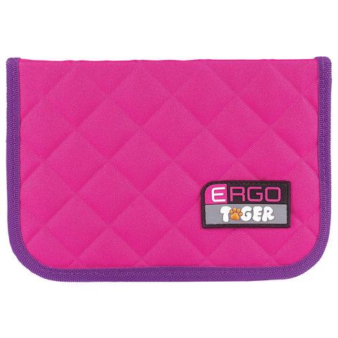 Пенал TIGER FAMILY (ТАЙГЕР) 1 отделение, 2 откидные планки, розовый-фиолетовый, 20х14х4 см, TGRW-004C1E