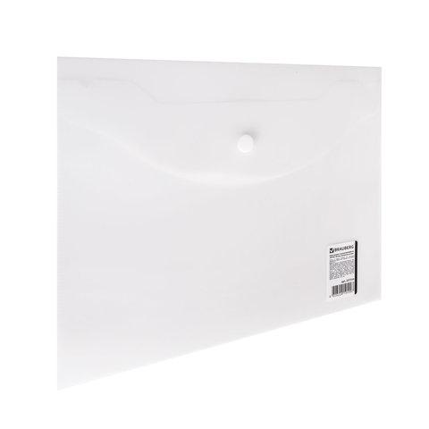 Папка-конверт с кнопкой МАЛОГО ФОРМАТА (240х190 мм), А5, матовая прозрачная, 0,18 мм, BRAUBERG, 227314