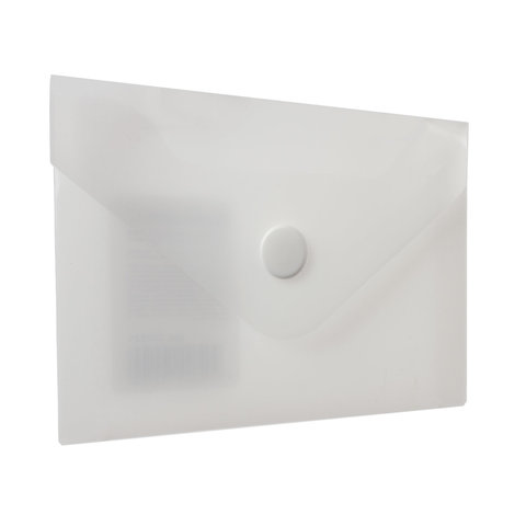 Папка-конверт с кнопкой МАЛОГО ФОРМАТА (74х105 мм), А7 (для визиток), матовая прозрачная, 0,18 мм BRAUBERG, 227325