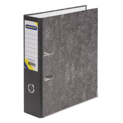 Папка-регистратор ОФИСБУРГ, усиленный корешок, мраморное покрытие, 80 мм, с уголком, черная, 227528