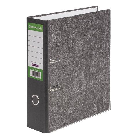 Папка-регистратор БИЗНЕСМЕНЮ, усиленный корешок, мраморное покрытие, 80 мм, с уголком, черная, 227529