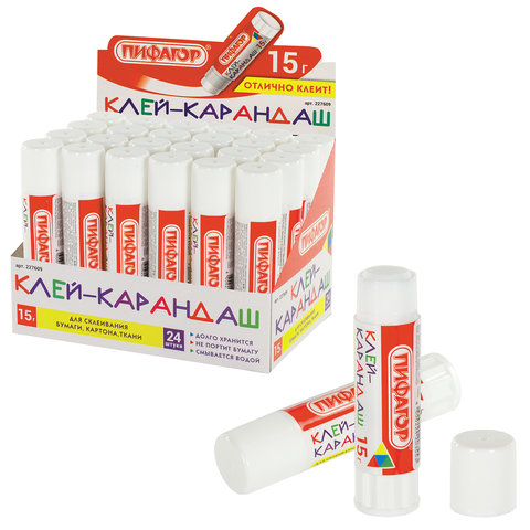 Клей-карандаш ПИФАГОР, 15 г, 227609