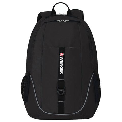 Рюкзак WENGER универсальный, черный, светоотражающие элементы, 26 л, 33х17х46 см, 6639202408