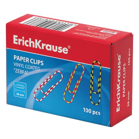 Скрепки ERICH KRAUSE, 28 мм, с цветными полосками