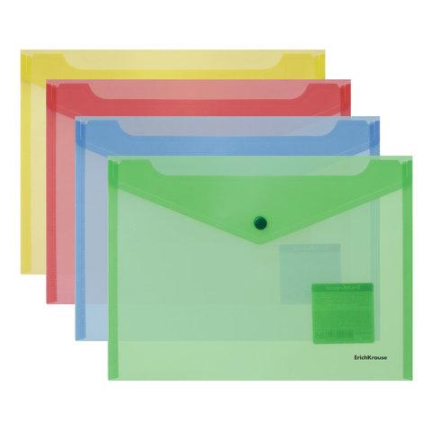 Папка-конверт с кнопкой формат B5 (282х229 мм), прозрачная, ассорти, 0,18 мм, ERICH KRAUSE