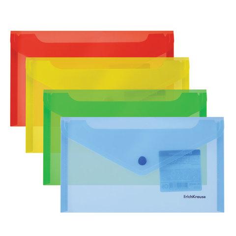 Папка-конверт с кнопкой МАЛОГО ФОРМАТА (203х129 мм), C6, прозрачная, ассорти, 0,18 мм, ERICH KRAUSE