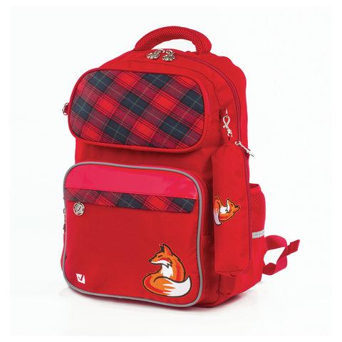 Рюкзак BRAUBERG с пеналом в комплекте, эрго-спинка, для девочек, Лиса, 42х29х14 см, 227852