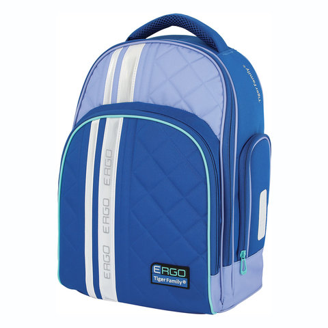 Рюкзак TIGER FAMILY (ТАЙГЕР), с ортопедической спинкой, для средней школы, синий/голубой, 39х31х20 см, TGRW-007A