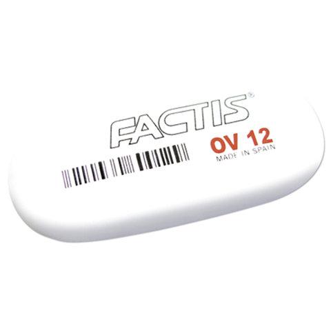 Ластик большой FACTIS OV 12 (Испания), 61х28х13 мм, белый, овальный, синтетический каучук, CMFOV12