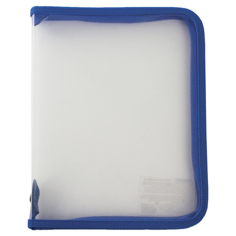 Папка для тетрадей А5 ПИФАГОР, пластик, молния вокруг, прозрачная, синяя, 228225