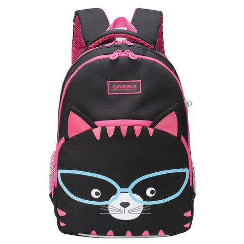 Рюкзак GRIZZLY школьный, анатомическая спинка, для девочек, Котик черный, 27х40х20 см, RG-966-2/2