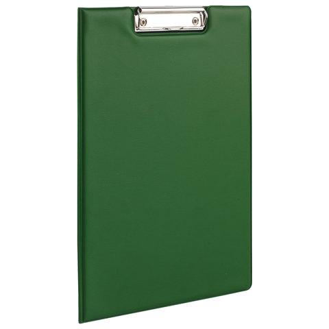 Папка-планшет BRAUBERG с верхним прижимом и крышкой, А4, картон/ПВХ, ЗЕЛЕНАЯ, двойной срок службы