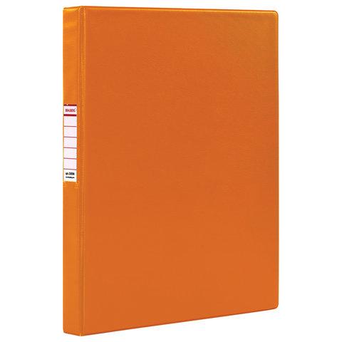 Папка на 2 кольцах BRAUBERG, картон/ПВХ, 35 мм, оранжевая, до 180 листов (удвоенный срок службы), 228386