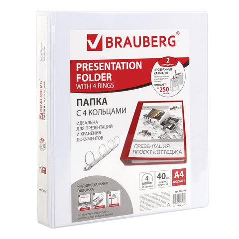 Папка на 4 кольцах c передним прозрачным карманом BRAUBERG, картон/ПВХ, 40 мм, белая, до 250 листов, 228396