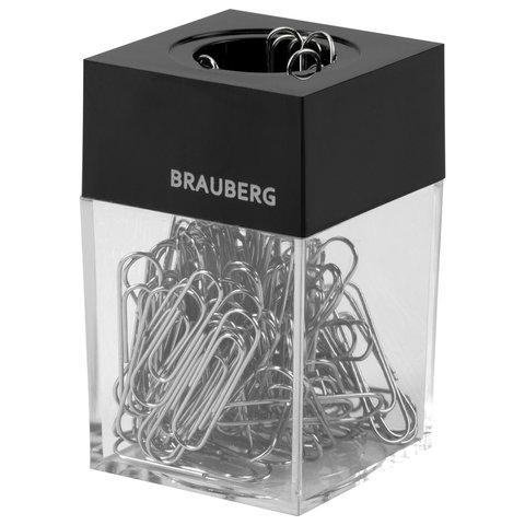 Скрепочница магнитная BRAUBERG, 100 никелированных скрепок 28 мм, прозрачный корпус, 228400