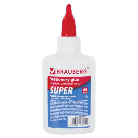 Клей канцелярский BRAUBERG-СУПЕР (для бумаги, картона, дерева), 65 г, 228418