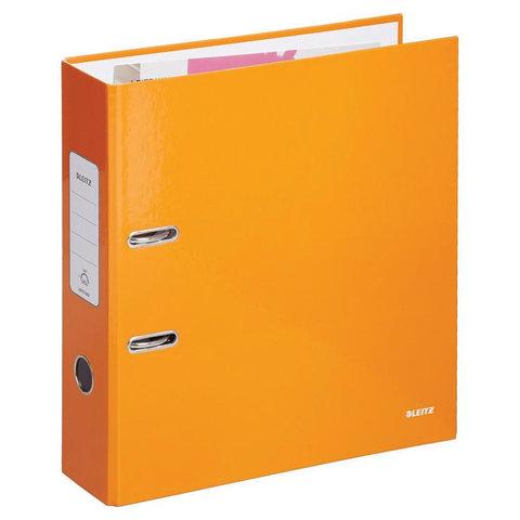 Папка-регистратор LEITZ, механизм 180`, покрытие пластик, 80 мм, оранжевая, 10101245