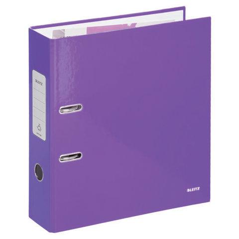 Папка-регистратор LEITZ, механизм 180`, с покрытием пластик, 80 мм, фиолетовая, 10101268