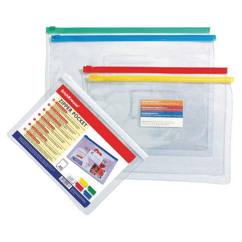 Папка-конверт на молнии, формат B5 (288х210 мм), молния ассорти, прозрачная, 0,14 мм, ERICH KRAUSE, 2936