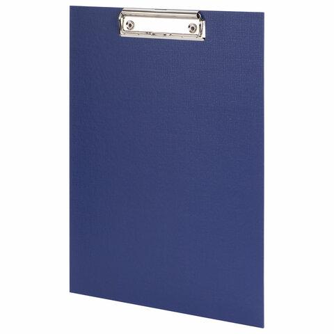 Доска-планшет STAFF с прижимом А4 (225х316 мм), картон/бумвинил РОССИЯ, синяя, 229052