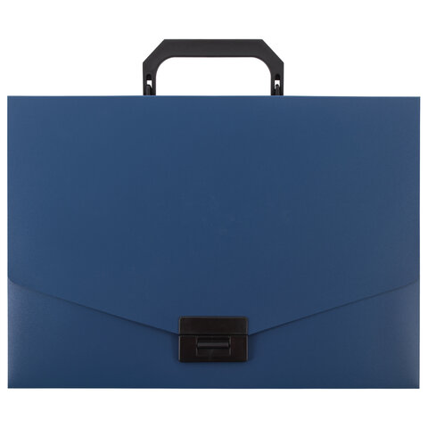 Портфель пластиковый STAFF А4 (320х225х36 мм), без отделений, синий, 229240