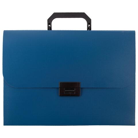 Портфель пластиковый STAFF А4 (330х235х36 мм), 13 отделений, индексные ярлыки, синий, 229244