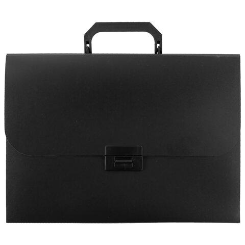 Портфель пластиковый STAFF А4 (330х235х36 мм), 13 отделений, индексные ярлыки, черный, 229245