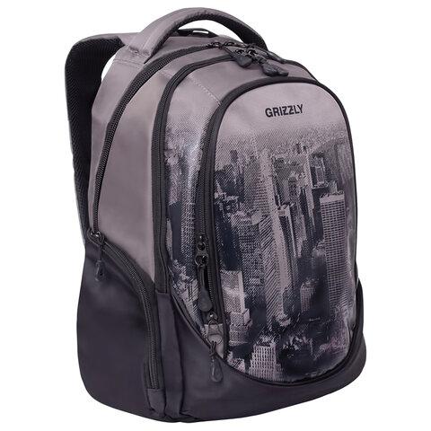 Рюкзак GRIZZLY молодежный, 3 отделения, черный/серый, Megapolis, 44x28x23 см, RU-037-4/2