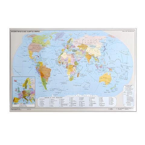 Коврик-подкладка настольный для письма, с картой мира, 380х590 мм,