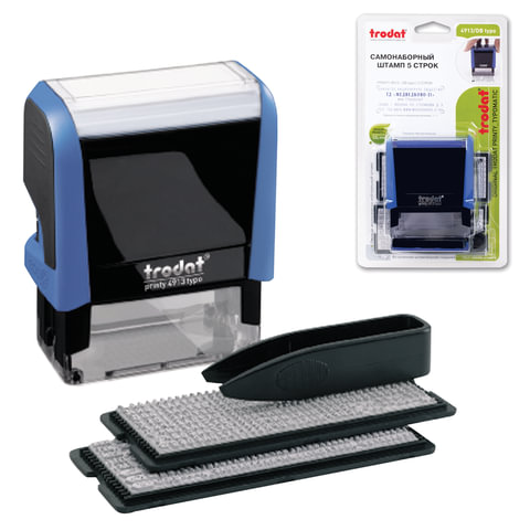 Штамп самонаборный 5-строчный, оттиск 58х22 мм, синий, без рамки, TRODAT 4913P4/DB (Австрия), корпус синий, кассы в комплекте, 4913/DB