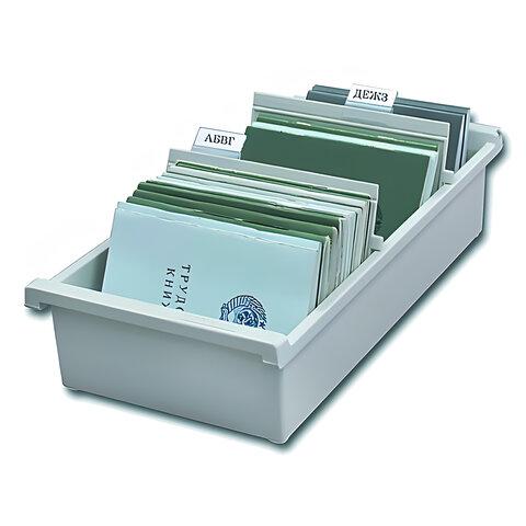 Картотека пластиковая ФОРМАТ А6 (148х105 мм) горизонтальная на 1300 карт, серая, HAN (Германия), НА956/0/11