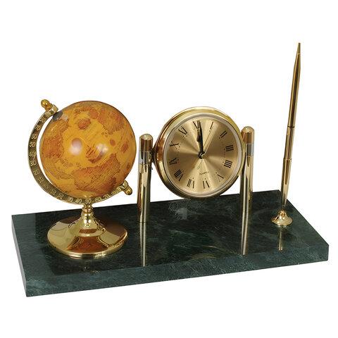 Часы на подставке из мрамора GALANT, с глобусом и шариковой ручкой, 231199