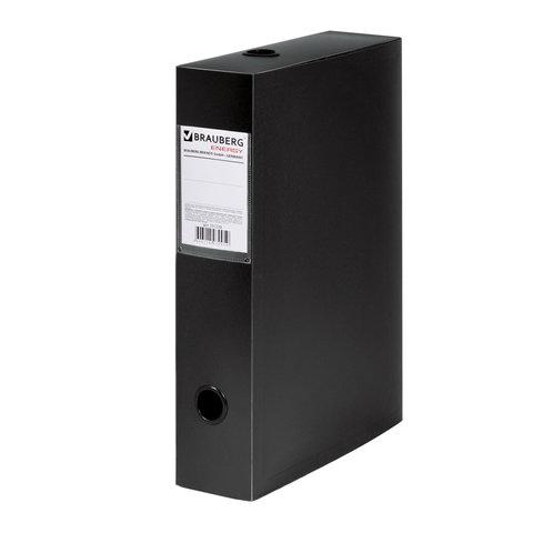 Короб архивный (330х245 мм), 70 мм, пластик, разборный, до 600 листов, черный, 0,9 мм, BRAUBERG
