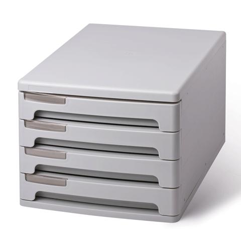Блок из 4 закрытых лотков для бумаги, настольный, ERICH KRAUSE, А4+, 210х270х360 мм, серый, 40