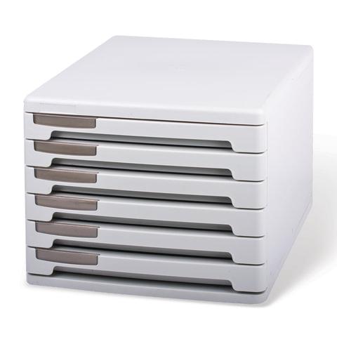 Блок из 6 закрытых лотков для бумаги, настольный, ERICH KRAUSE, А4+, 210х270х365 мм, серый, 63