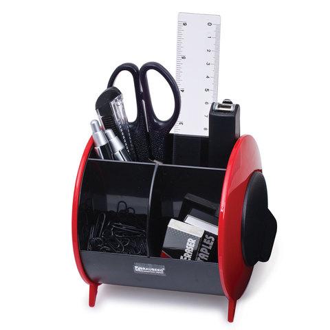 Канцелярский набор BRAUBERG, 10 предметов, вертикальная вращающаяся конструкция, черный/красный, блистер, 231927
