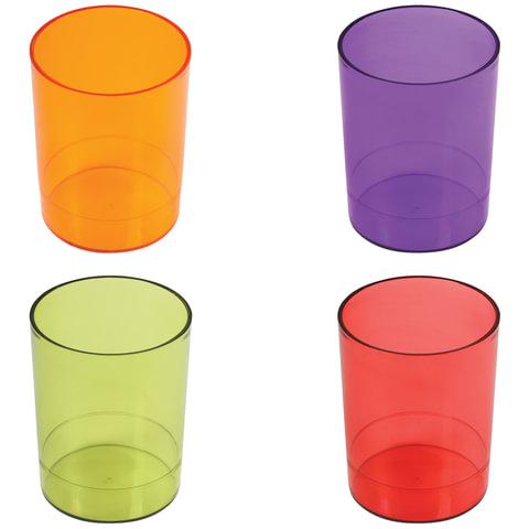 Подставка-органайзер СТАММ (стакан для ручек), 4 цвета ассорти, тонированный (красный, зеленый, оранжевый, фиолетовый), СН60