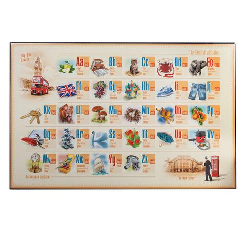 Коврик-подкладка настольный для письма, с английским алфавитом, 380х590 мм,