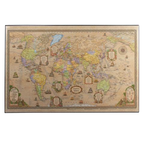 Коврик-подкладка настольный для письма, с картой мира ретро, 380х590 мм,