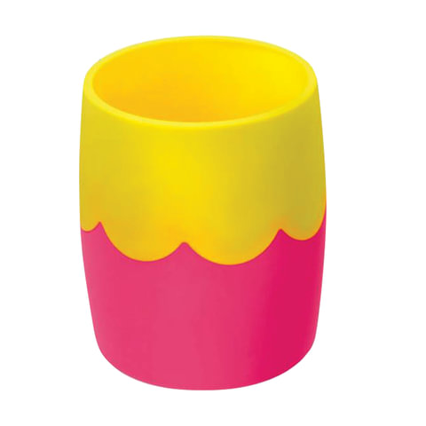 Подставка-органайзер СТАММ (стакан для ручек), розово-желтая, непрозрачная, СН502