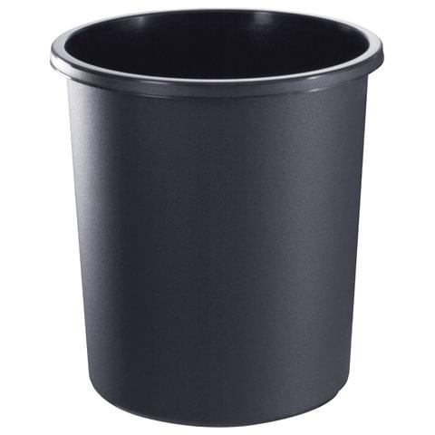 Корзина для бумаг БОЛЬШАЯ, 18 л, цельная, черная, СТАММ, КР41