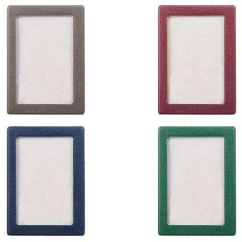 Обложка-карман для проездных документов, карт, пропусков, 105х75 мм, прозрачная, ПВХ, в цветной рамке, ассорти, 2862