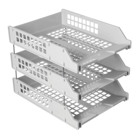 Лотки горизонтальные для бумаг, НАБОР 3 шт. (340х260х240 мм), на металлических стержнях, серые, СТАММ