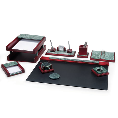 """Набор настольный BESTAR """"Zeus"""", мрамор, 8 предметов, двойной лоток, зеленый, красное дерево, 236400"""