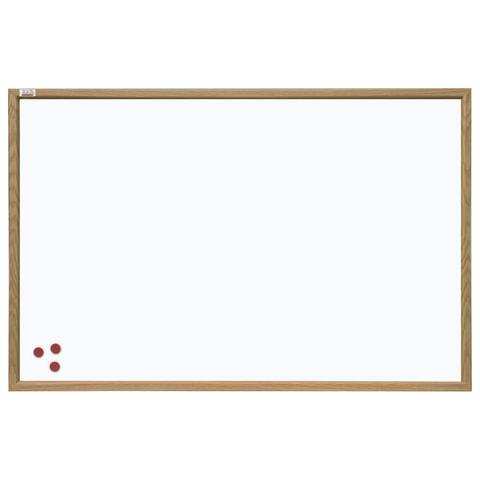 Доска магнитно-маркерная 60x90 см, коричневая рамка из МДФ, OFFICE,