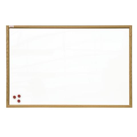 Доска магнитно-маркерная 90х120 см, коричневая рамка из МДФ, OFFICE,