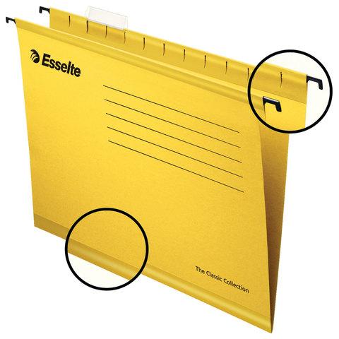 Подвесные папки А4/Foolscap (400х240 мм), до 300 листов, КОМПЛЕКТ 25 шт., желтые, картон, ESSELTE