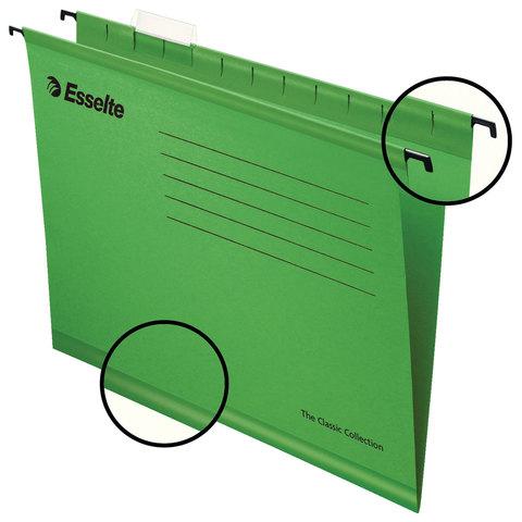Подвесные папки А4/Foolscap (400х240 мм), до 300 листов, КОМПЛЕКТ 25 шт., зеленые, картон, ESSELTE
